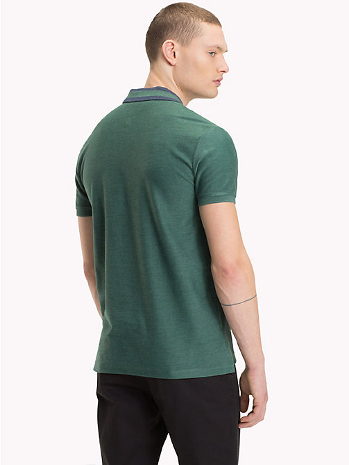 TOMMY JEANS Stripe Collar Polo Shirt - HUNTER GREEN - TOMMY JEANS T-Shirts & Polos - detail image 1
