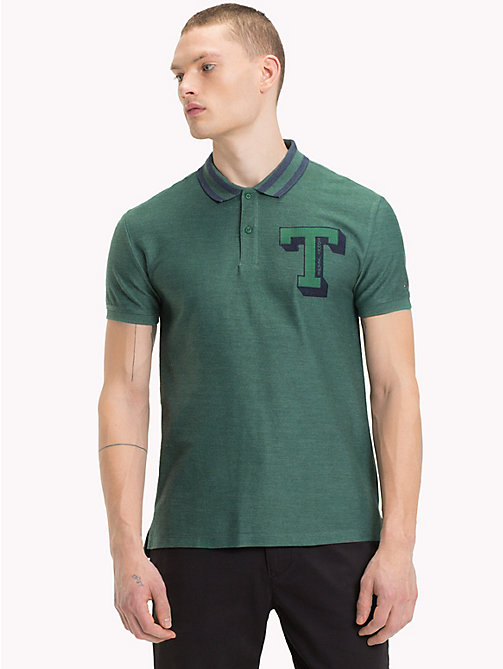 TOMMY JEANS Stripe Collar Polo Shirt - HUNTER GREEN - TOMMY JEANS T-Shirts & Polos - main image