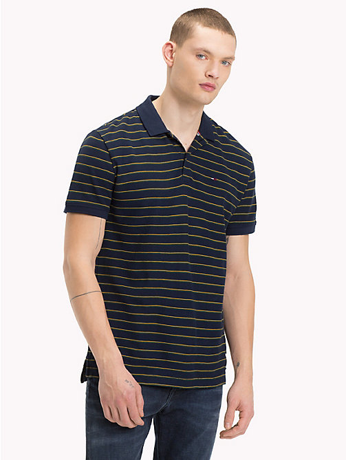 TOMMY JEANS Multi-Colour Stripe Polo Top - BLACK IRIS MULTI - TOMMY JEANS T-Shirts & Polos - main image