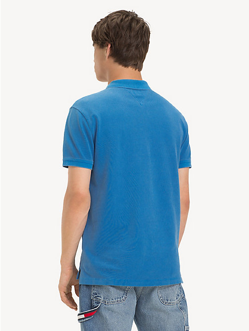TOMMY JEANS Garment Dye Polo Shirt - BRILLIANT BLUE - TOMMY JEANS T-Shirts & Polos - detail image 1