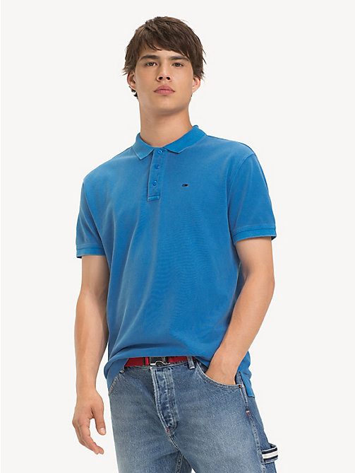 TOMMY JEANS Garment Dye Polo Shirt - BRILLIANT BLUE - TOMMY JEANS T-Shirts & Polos - main image