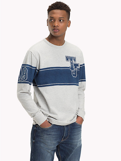 TOMMY JEANS Baseball-Style Long Sleeve Top - LT GREY HTR - TOMMY JEANS T-Shirts & Polos - main image