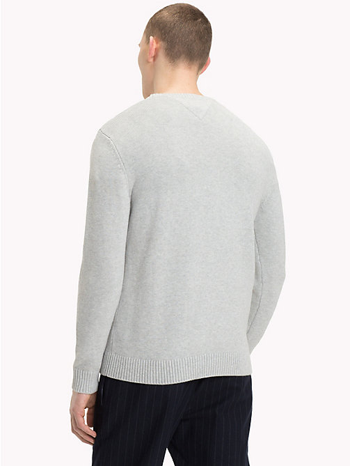 TOMMY JEANS Pullover logo a contrasto in spugna - LT GREY HTR - TOMMY JEANS Maglieria - dettaglio immagine 1