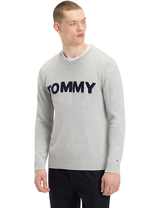 TOMMY JEANS Pullover logo a contrasto in spugna - LT GREY HTR - TOMMY JEANS Maglieria - immagine principale