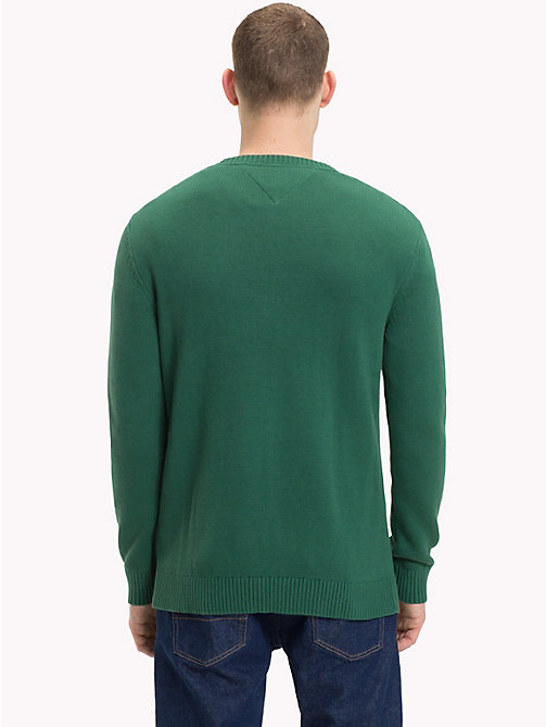 TOMMY JEANS Contrast Towelling Logo Jumper - HUNTER GREEN - TOMMY JEANS Knitwear - detail image 1