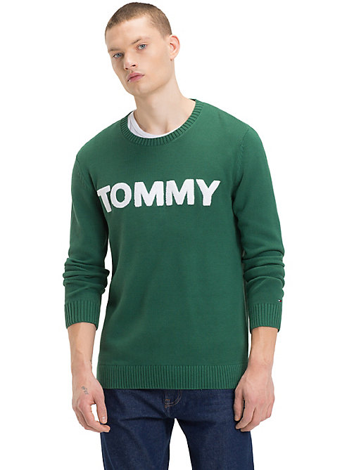 TOMMY JEANS Contrast Towelling Logo Jumper - HUNTER GREEN - TOMMY JEANS Knitwear - main image