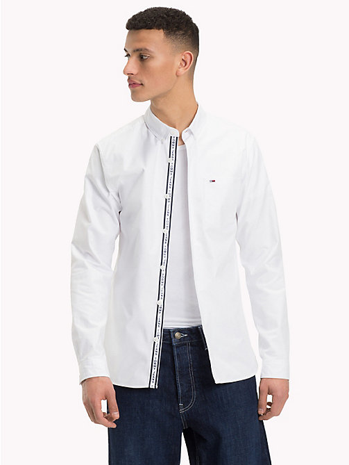 TOMMY JEANS Tape Detail Regular Fit Shirt - CLASSIC WHITE - TOMMY JEANS Shirts - main image