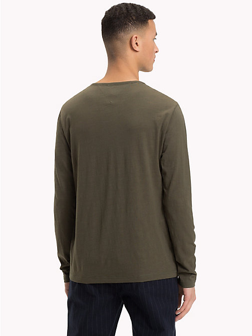 TOMMY JEANS Buttoned Long Sleeve Top - FOREST NIGHT - TOMMY JEANS T-Shirts & Polos - detail image 1