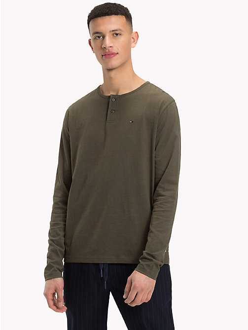 TOMMY JEANS Buttoned Long Sleeve Top - FOREST NIGHT - TOMMY JEANS T-Shirts & Polos - main image