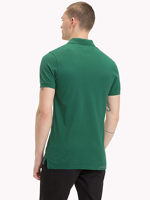 TOMMY JEANS Fine Pique Slim Polo Shirt - HUNTER GREEN - TOMMY JEANS T-Shirts & Polos - detail image 1