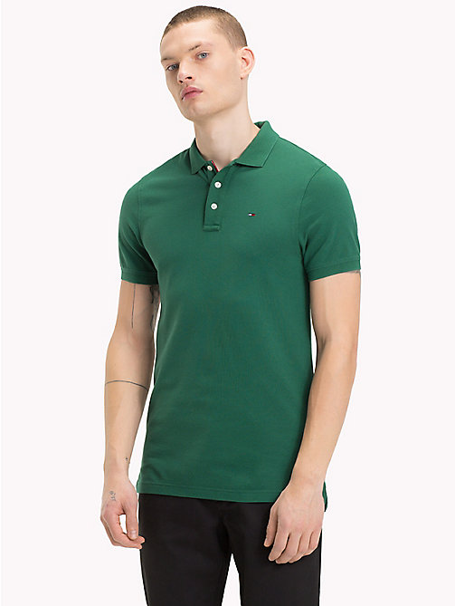 TOMMY JEANS Slim fit piqué poloshirt - HUNTER GREEN - TOMMY JEANS T-Shirts &  Polo's - main image
