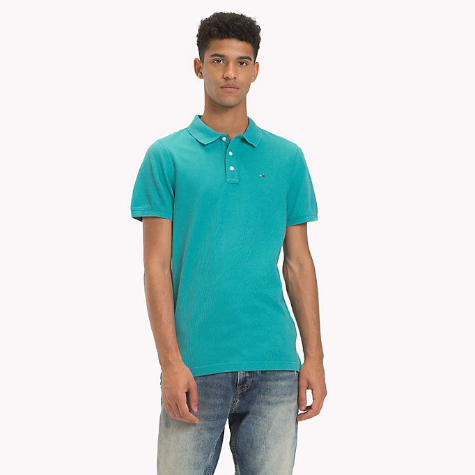 polo slim fit in piqué blu da uomo tommy jeans