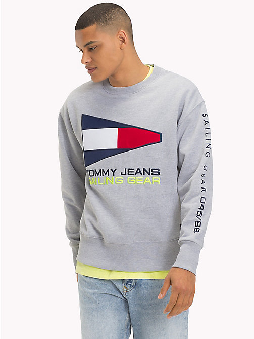TOMMY JEANS Pull Sailing logo 90s - LIGHT GREY HTR - TOMMY JEANS Sweats - image principale