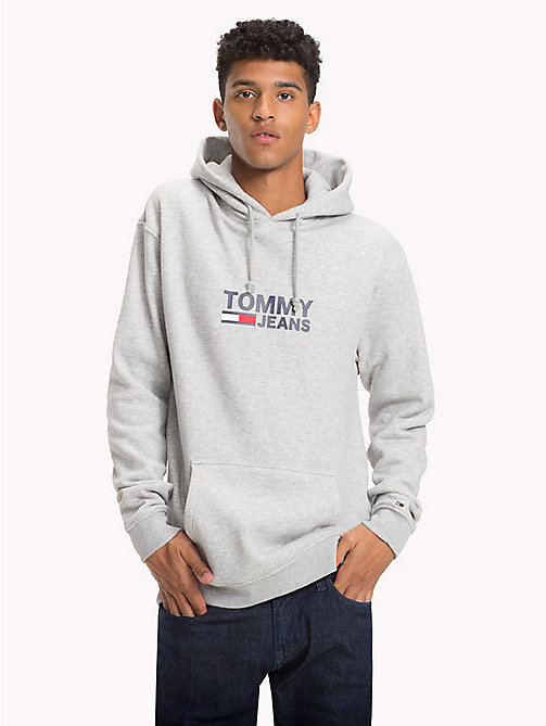 TOMMY JEANS Flag Logo Hoodie - LT GREY HTR - TOMMY JEANS Festival Season - main image