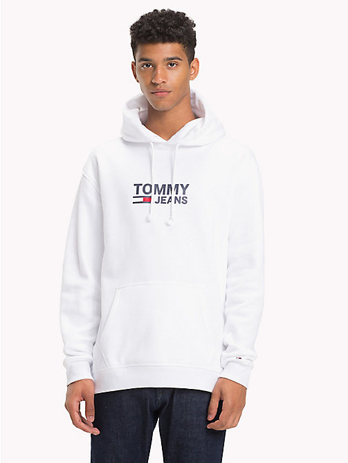 TOMMY JEANS Flag Logo Hoodie - CLASSIC WHITE - TOMMY JEANS Sweatshirts & Hoodies - main image