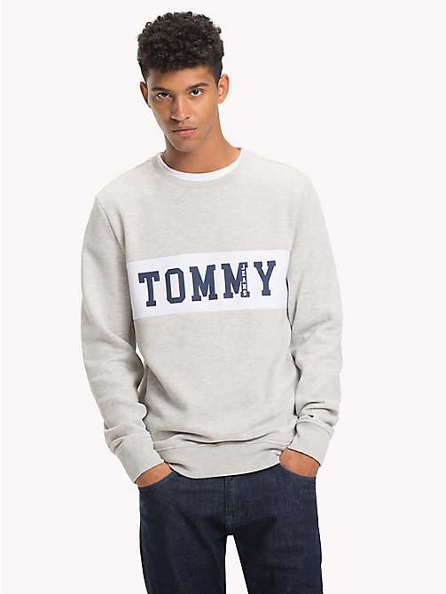 TOMMY JEANS Logo Panel Sweatshirt - LT GREY HTR - TOMMY JEANS Sweatshirts & Hoodies - main image