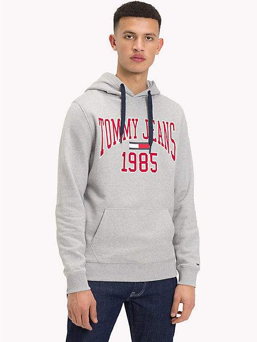 TOMMY JEANS Retro Graphic Hoody - LT GREY HTR - TOMMY JEANS Sweatshirts & Knitwear - main image