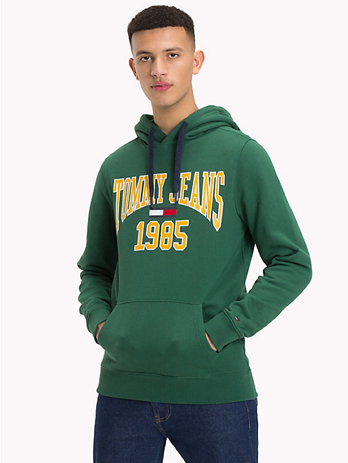 TOMMY JEANS Retro Graphic Hoody - HUNTER GREEN - TOMMY JEANS Sweatshirts & Knitwear - main image
