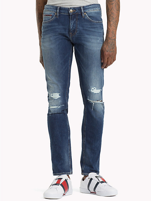 TOMMY JEANS Scanton Distressed Slim Fit Jeans - ROUTE SEVEN LT BL CO - TOMMY JEANS Jeans - main image