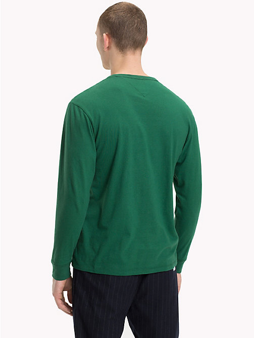 TOMMY JEANS Long-Sleeved Logo Top - HUNTER GREEN - TOMMY JEANS T-Shirts & Polos - detail image 1