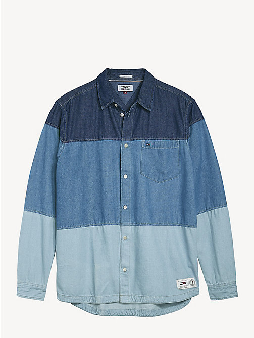 TOMMY JEANS Colour-Blocked Denim Shirt - MID INDIGO / MULTI - TOMMY JEANS Shirts - detail image 1