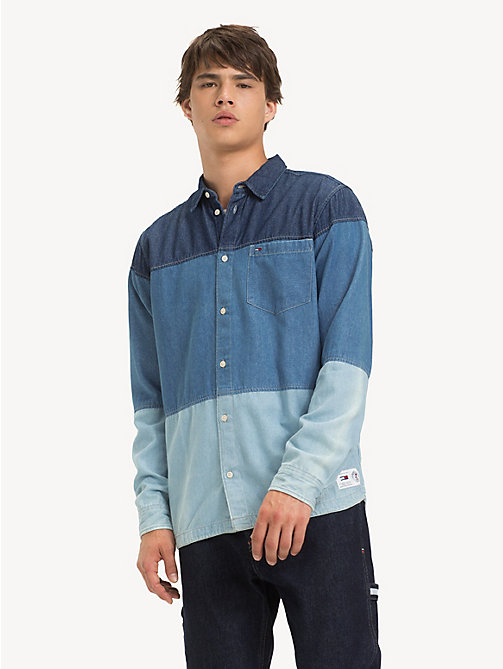TOMMY JEANS Colour-Blocked Denim Shirt - MID INDIGO / MULTI - TOMMY JEANS Shirts - main image