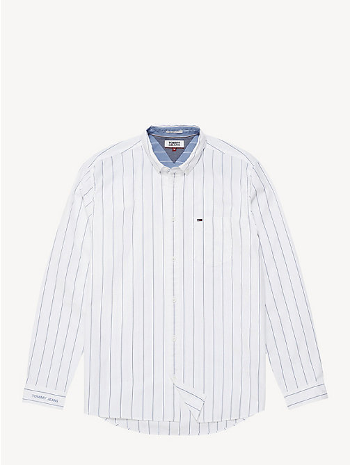 TOMMY JEANS Pure Cotton Pinstripe Shirt - CLASSIC WHITE - TOMMY JEANS Shirts - detail image 1