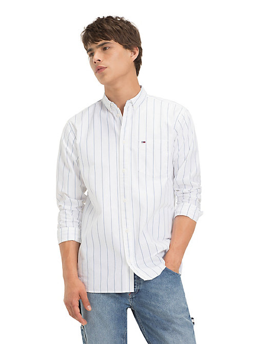 TOMMY JEANS Pure Cotton Pinstripe Shirt - CLASSIC WHITE - TOMMY JEANS Shirts - main image