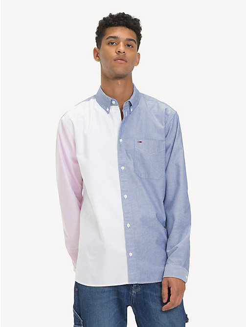 TOMMY JEANS Colour-Blocked Panel Shirt - BLACK IRIS / CLASSIC WHITE - TOMMY JEANS Shirts - main image
