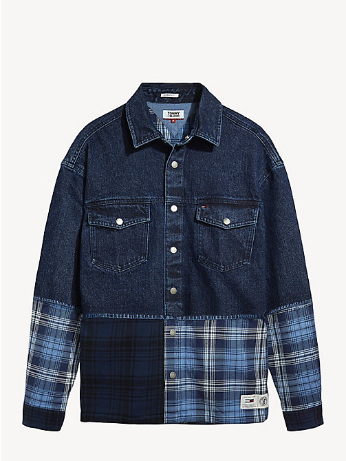 TOMMY JEANS Denim Flannel Mix Shirt - MID INDIGO / MULTI - TOMMY JEANS Shirts - detail image 1
