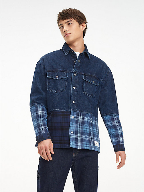 TOMMY JEANS Denim Flannel Mix Shirt - MID INDIGO / MULTI - TOMMY JEANS Shirts - main image