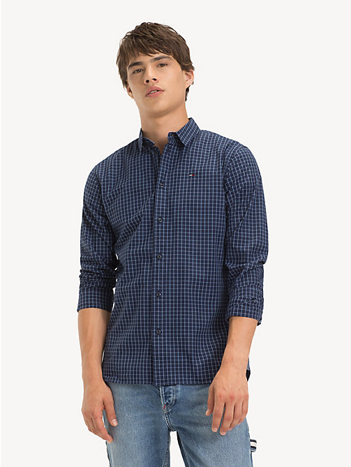 TOMMY JEANS Essential Plaid Shirt - BLACK IRIS / MULTI - TOMMY JEANS Shirts - main image