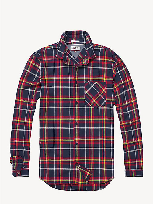 TOMMY JEANS Cotton Flannel Plaid Shirt - BLACK IRIS / MULTI - TOMMY JEANS Shirts - detail image 1