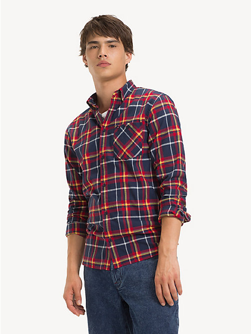 TOMMY JEANS Cotton Flannel Plaid Shirt - BLACK IRIS / MULTI - TOMMY JEANS Shirts - main image