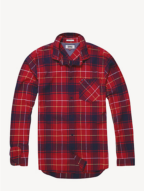 TOMMY JEANS Cotton Flannel Plaid Shirt - SAMBA MULTI - TOMMY JEANS Shirts - detail image 1