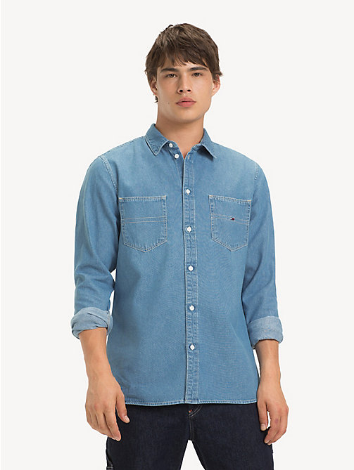 TOMMY JEANS Denim Pocket Shirt - MID INDIGO - TOMMY JEANS Shirts - main image