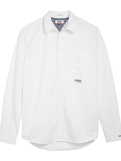 TOMMY JEANS Cotton Solid Twill Shirt - CLASSIC WHITE - TOMMY JEANS Shirts - detail image 1