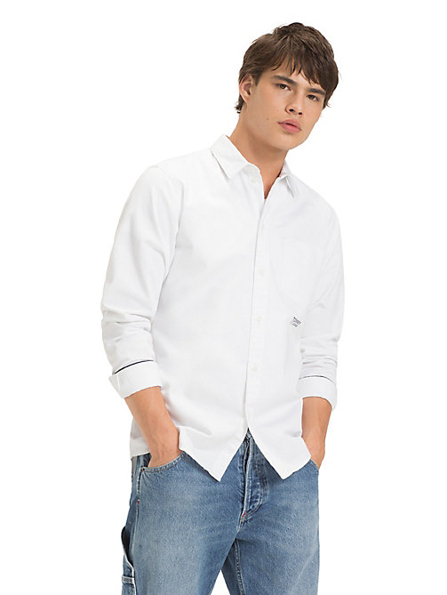 TOMMY JEANS Cotton Solid Twill Shirt - CLASSIC WHITE - TOMMY JEANS Shirts - main image