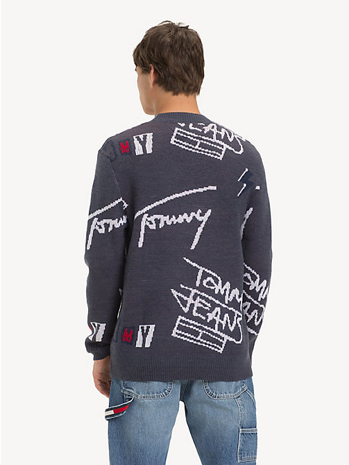 TOMMY JEANS Crew Neck Signature Logo Sweater - CORONET BLUE / MULTI - TOMMY JEANS Knitwear - detail image 1