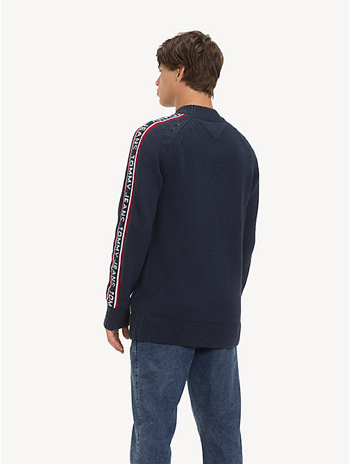 TOMMY JEANS Repeat Logo Tape Jumper - BLACK IRIS - TOMMY JEANS Knitwear - detail image 1