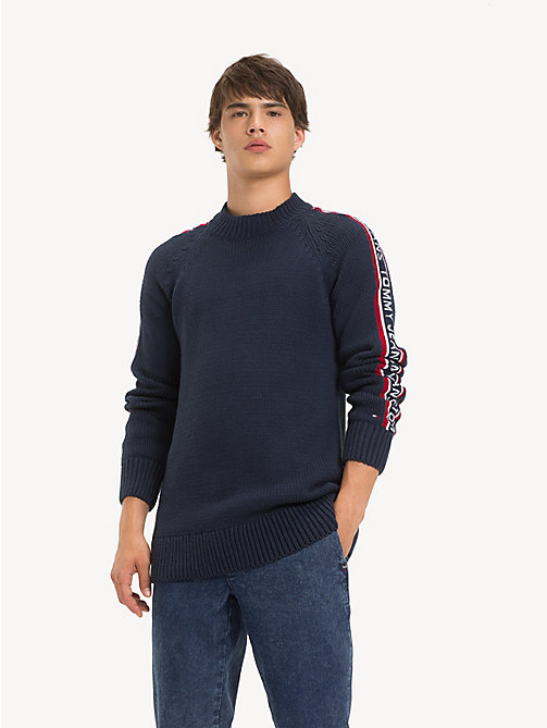 TOMMY JEANS Repeat Logo Tape Jumper - BLACK IRIS - TOMMY JEANS Knitwear - main image