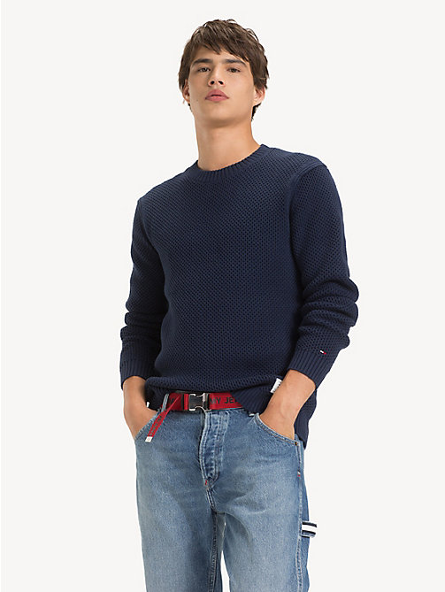 TOMMY JEANS Pure Cotton Textured Jumper - BLACK IRIS - TOMMY JEANS Knitwear - main image