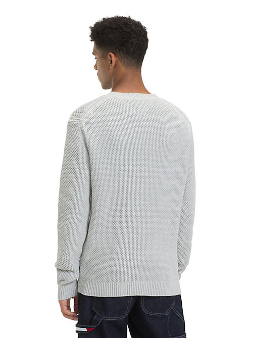TOMMY JEANS Pure Cotton Textured Jumper - LT GREY HTR - TOMMY JEANS Knitwear - detail image 1