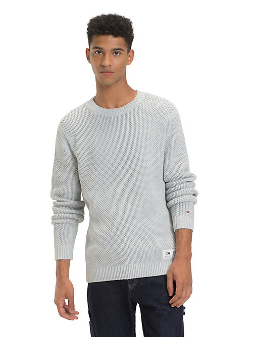 TOMMY JEANS Pure Cotton Textured Jumper - LT GREY HTR - TOMMY JEANS Knitwear - main image
