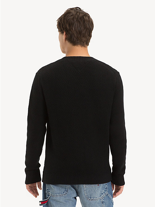 TOMMY JEANS Pure Cotton Textured Jumper - TOMMY BLACK - TOMMY JEANS Knitwear - detail image 1