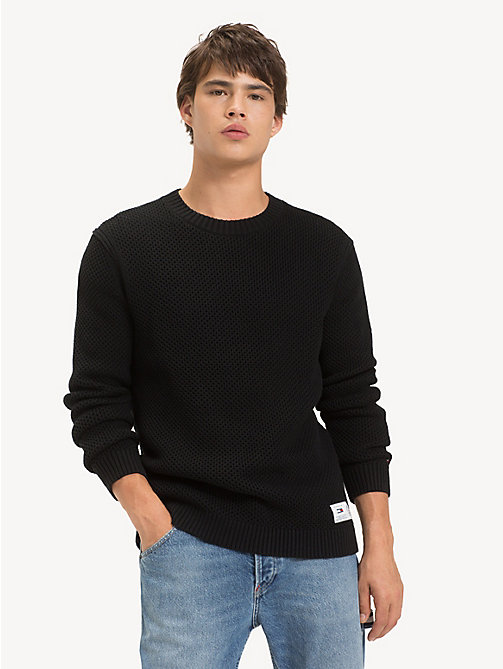 TOMMY JEANS Pure Cotton Textured Jumper - TOMMY BLACK - TOMMY JEANS Knitwear - main image