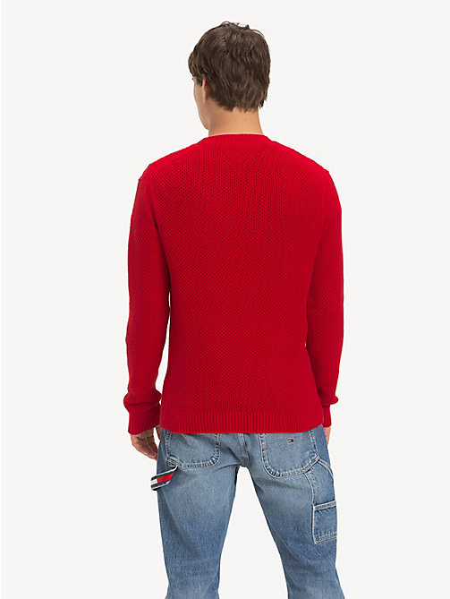 TOMMY JEANS Pure Cotton Textured Jumper - SAMBA - TOMMY JEANS Knitwear - detail image 1