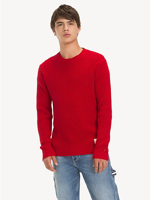 TOMMY JEANS Pure Cotton Textured Jumper - SAMBA - TOMMY JEANS Knitwear - main image
