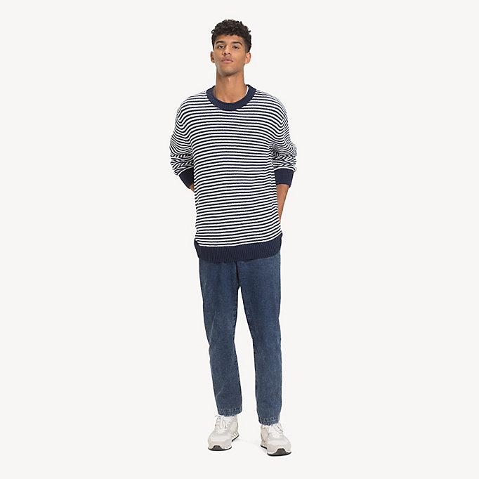 87fb373326da26 Gestreifter Pullover aus reiner Baumwolle   BLACK IRIS / CLASSIC WHITE   Tommy  Hilfiger
