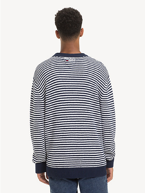 TOMMY JEANS Pure Cotton Stripe Jumper - BLACK IRIS / CLASSIC WHITE - TOMMY JEANS Knitwear - detail image 1